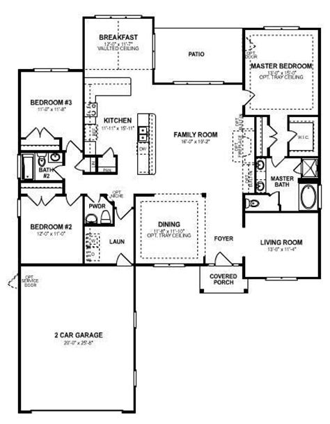 3 Bedroom Open Floor Plan an elegant single story 3