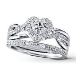 Heart Shaped Wedding Rings Bridal Set