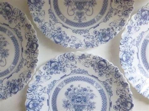 french vintage blue  white arcopal plates set   etsy blue  white french vintage