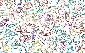 Food pattern background colorful hand drawn sketch style ...