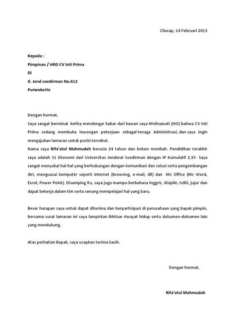 Surat Lamaran Pekerjaan Docx contoh surat lamaran kerja docx