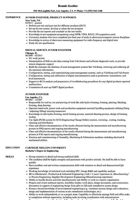 Junior Engineer Resume Samples | Velvet Jobs