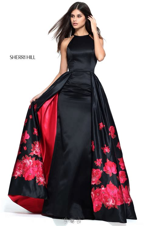 sherri hill  halter floor length dress  cape