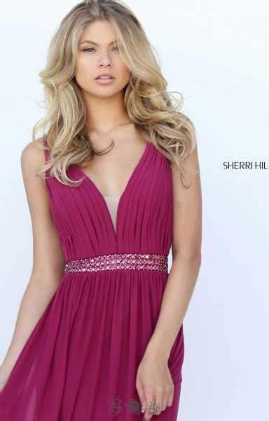 sherri hill  plunging  neck strapped jersey mesh