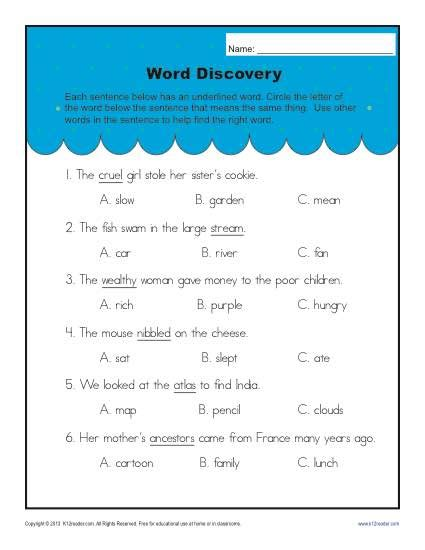 context clues worksheets for 2nd grade context clues