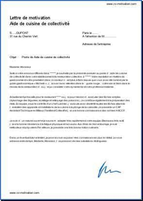 commis de cuisine code rome lettre de motivation aide de cuisine de collectivité modèle