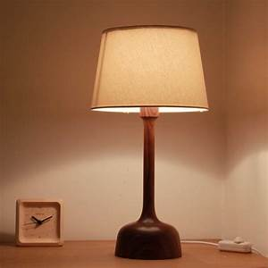 Living, Room, Lamps, E14, Wooden, Lamp, With, Dimmer, Switch, 100, Black, Walnut, Wood, Table, Lamps, Night