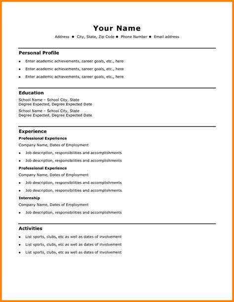 Free Simple Resume Templates by 9 Cv Sle Simple Theorynpractice