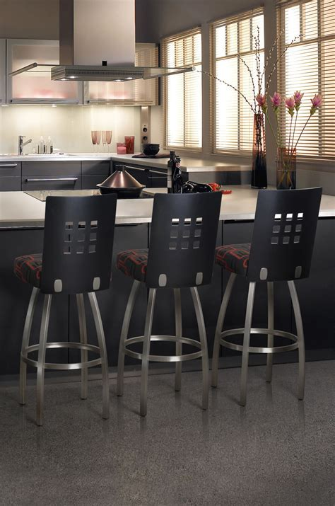 Trica Tristan Swivel Stool w/ 9 Squares on Back, Modern