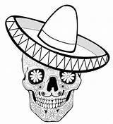 Coloring Sombrero Muertos Dia Printable Colorear Calaveras Mexican Hat Colorare Mandala Skull Template Sugar Coco Dot Mexico Colouring Libri Disegni sketch template