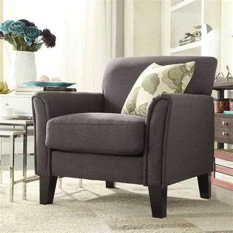 inspire q uptown modern grey linen accent arm chair