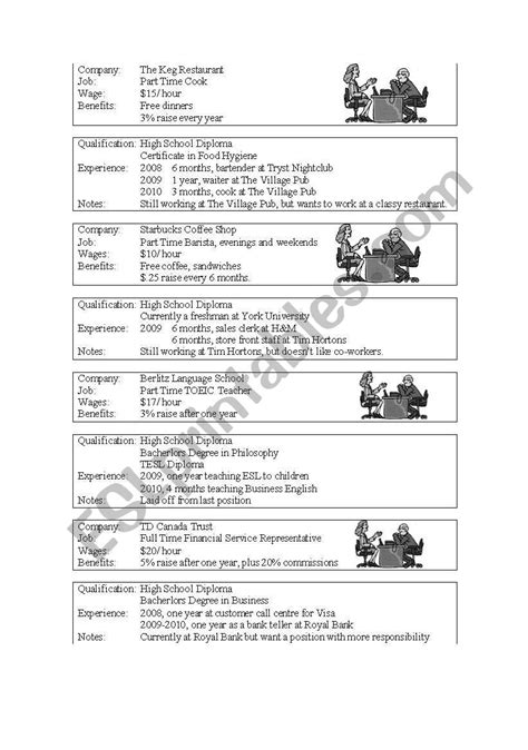 job interview role play esl worksheet by pereira m