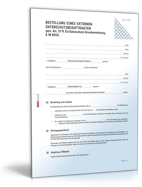 bestellung externer datenschutzbeauftragter muster zum