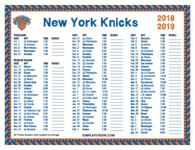 printable    york knicks schedule