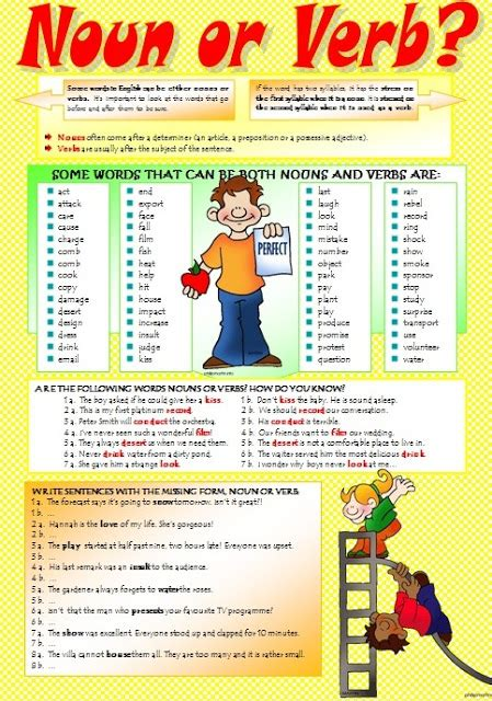In the following sentences, underline the nouns and circle the verbs. English stuff ESL: NOUN or VERB? (intermediate worksheet))