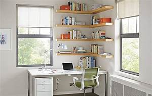 Float wood wall shelves office by rb modern home for Home office wall shelving