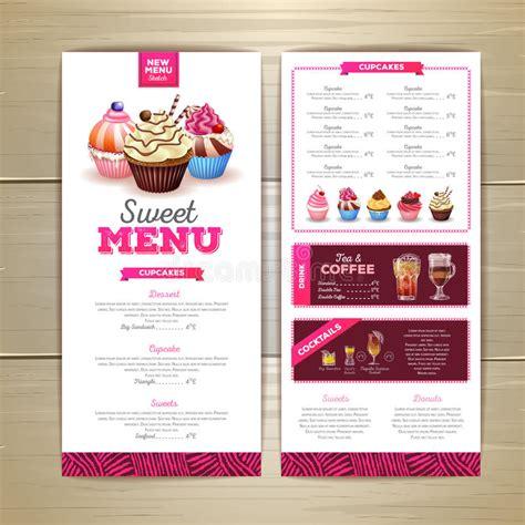 vintage dessert menu design sweet cupcake stock vector