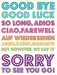 Good Bye & Good Luck - multilingual. Flittered to add to ...