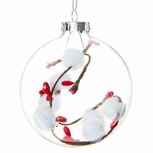 Boule Noel Transparente : boule de no l transparente avec pompons blancs en verre 8 cm maisons du monde ~ Melissatoandfro.com Idées de Décoration