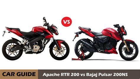 bajaj pulsar ns 200 vs tvs apache rtr 200 4v comparison and reviews car guide