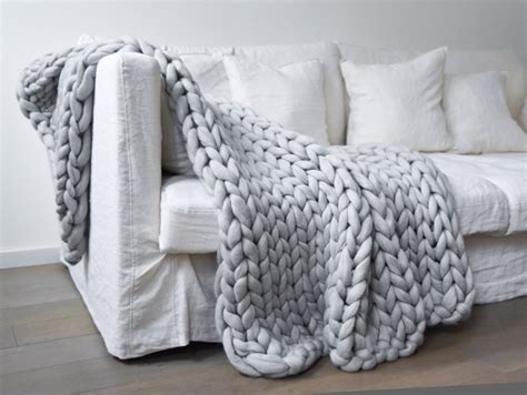 Plaid En Grosse Maille Couverture Grosse Maille Chunky Blanket Mes Petites Puces
