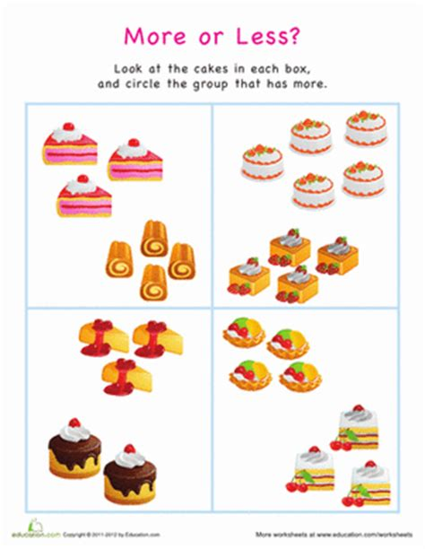 More Or Less? Cakes  Worksheet Educationcom