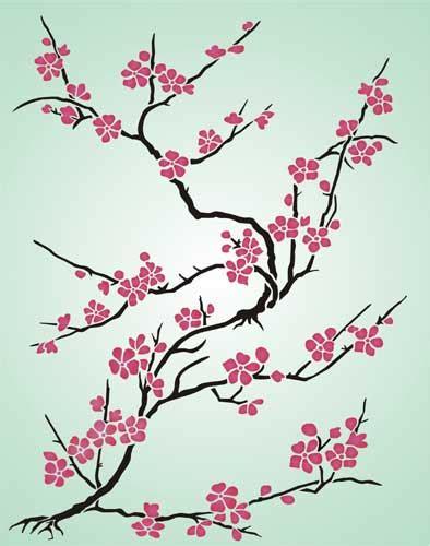 japanese cherry blossom design cherry blossom japanese stencil design from stencil kingdom