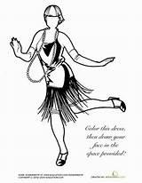 Flapper Drawing 1920s Coloring Getdrawings sketch template