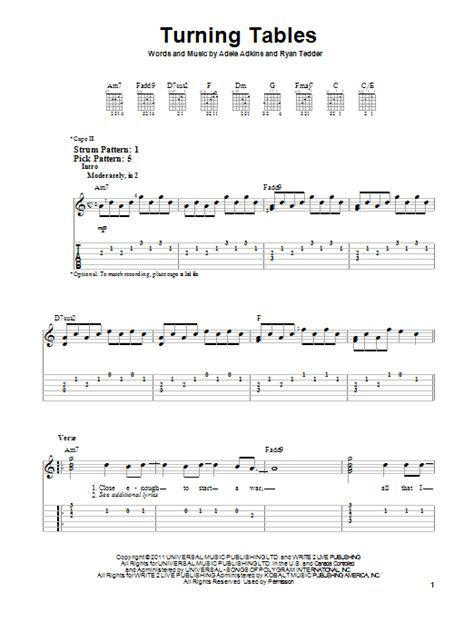 Turning Tables Sheet Music By Adele (easy Guitar Tab 88821