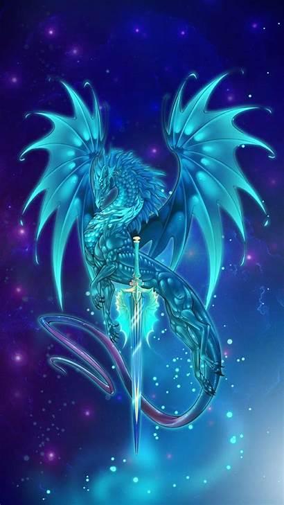 Dragon Dragons Neon Galaxy Glowing Wings Sword