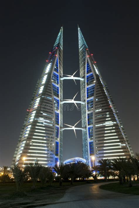 World Trade Center - Bahrain - Night Scene Stock Image ...