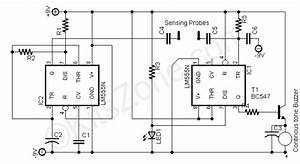 water level alarm using 555 timer ic water level With water sensor circuit diagram using ic 555 loublet schematic