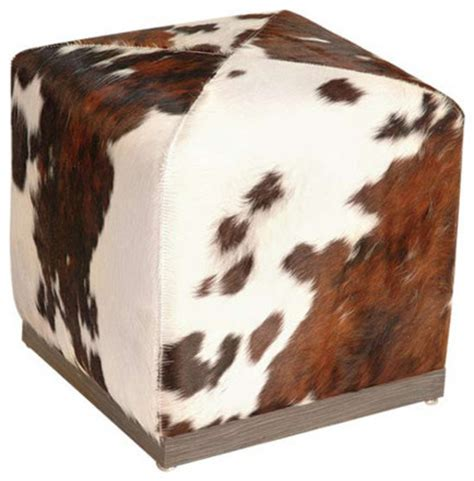 Cowhide Cube Ottoman - cowhide cube ottoman southwestern footstools and