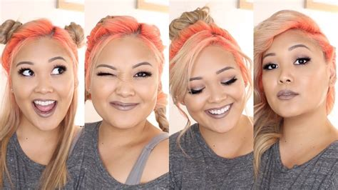 my favorite hairstyles with colored roots neon orange