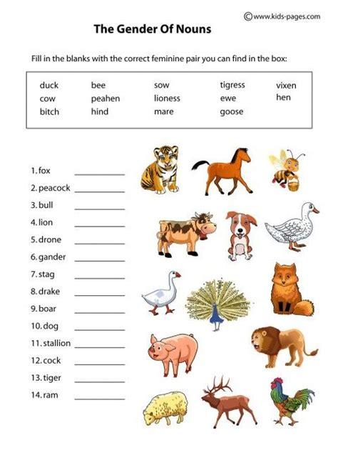 kids pages nouns gender animals animal worksheets