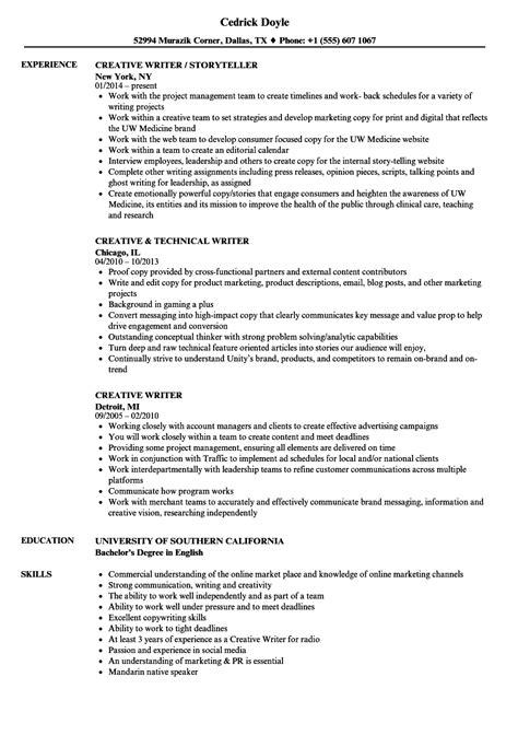 Writing A Resume by Creative Writer Resume Sles Velvet