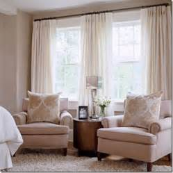 window treatment idea for 2 windows together 2 sets