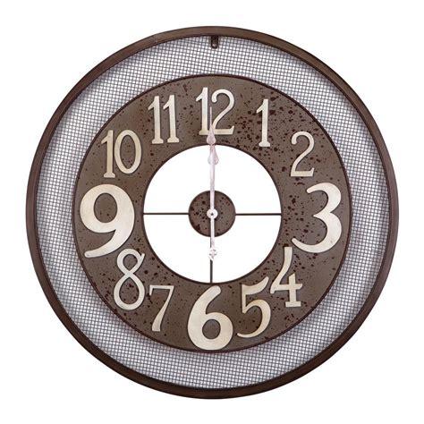 yosemite home decor 31 5 in x 31 5 in circular iron wall clock in gray frame clkb2a159