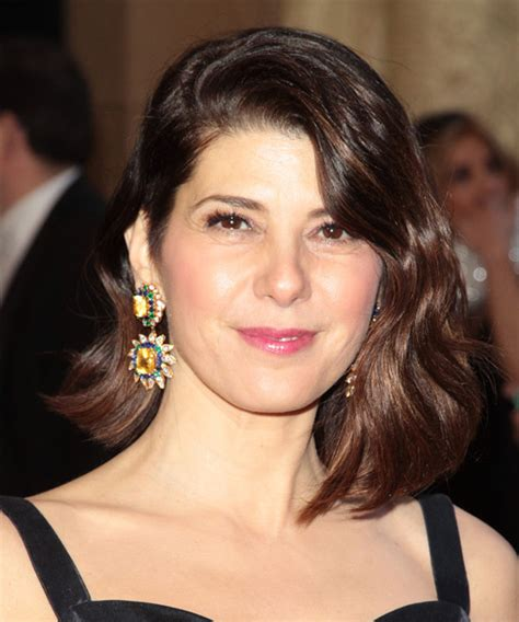 marisa tomei medium wavy formal hairstyle with side swept bangs dark hair color with