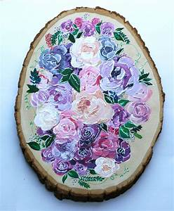 Painted, Wood, Tree, Slice, Flower, Painting, By, Humabei, On, Etsy, S, Etsy, Com, Listing