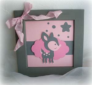 Cadre Chambre Fille : cadre pour chambre d 39 enfant fille rose et gris motif ~ Nature-et-papiers.com Idées de Décoration
