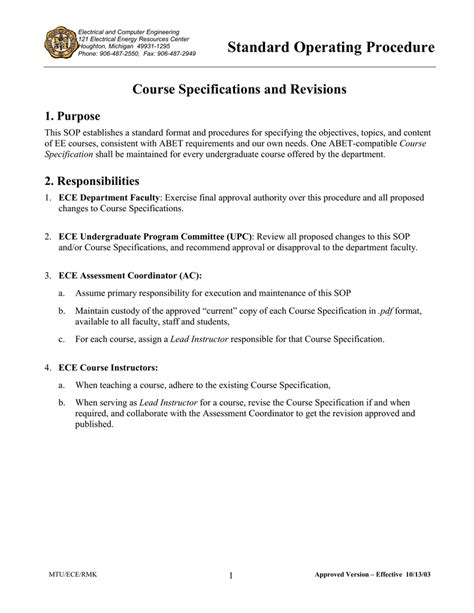 Standard Operating Procedure Course Specifications and