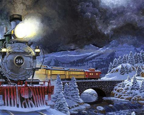 winter night moving train light snow trees stone bridge