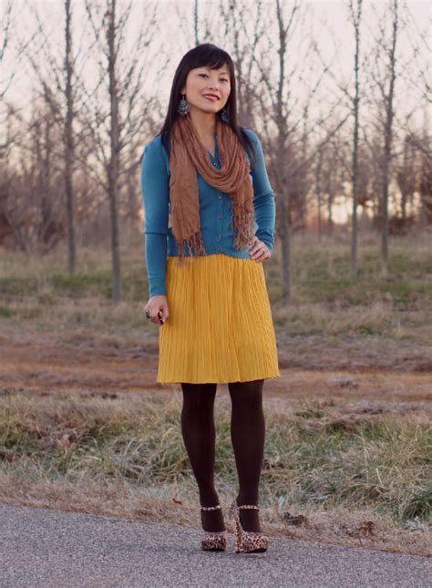 How I Wear Mustard and teal | My Dressy Ways