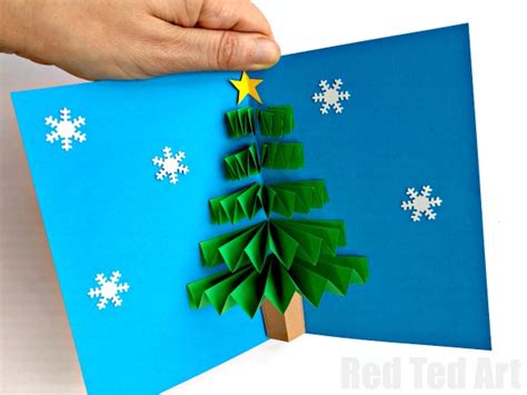 how to makeacheistmas tree stau up diy pop up card ted