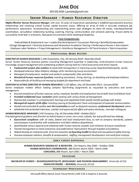 view human resources manager resume exle