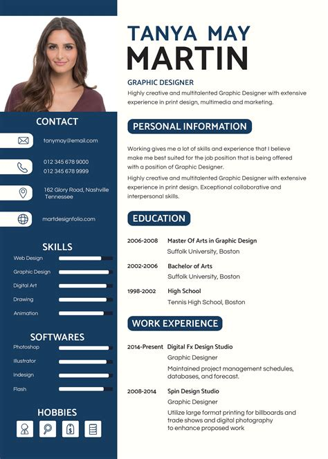 professional resume template graphic design resume