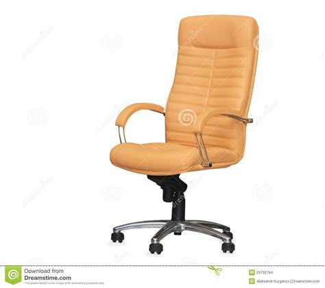 the office chair from beige leather isolated stock images
