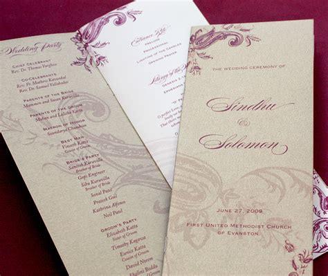 wedding ceremony programs invitations  ajalon