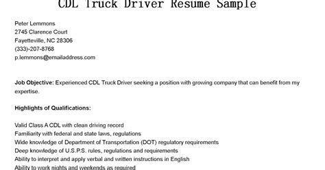 driver resumes cdl truck driver resume sle